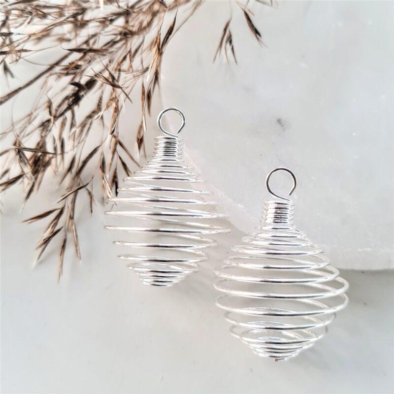 spiral - stor med ögla - silverfärgad