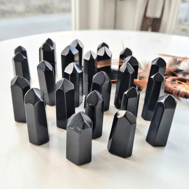 obsidian svart slipad spets